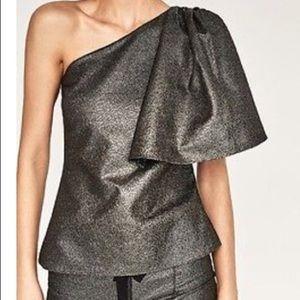 NEW Zara Statement One Shoulder Metallic Top